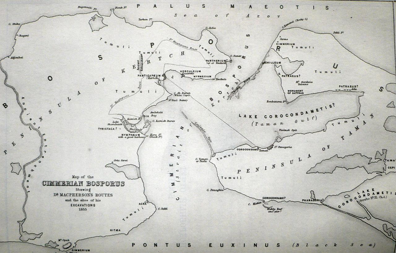 Боспор Киммерийский и полуостров Фанагория, на котором видны местоположения города Пантикапея и раскопки автора этой книги.