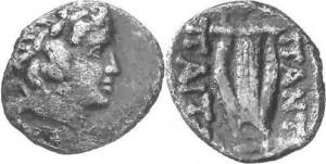Царь Пантикапея Перисад IV, серебряный диобол