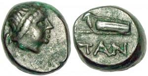 Царь Пантикапея Перисад IV, медный обол