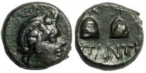 Царь Пантикапея Перисад IV, медный диобол