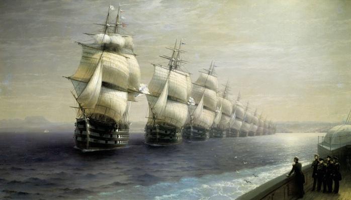 Екатерина 2, смотр кораблей на Черном море