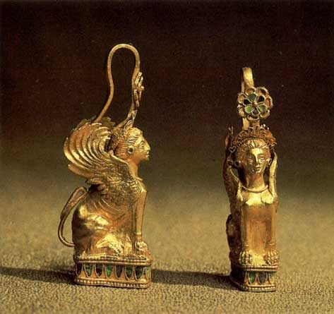 Золотые Серьги-сфинксы