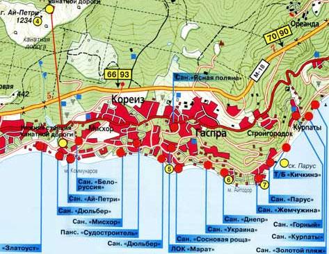 Карта расположения санаториев, пансионатов, домов отдыха Мисхора, Гаспры, Кореиза, Ялта Крым.