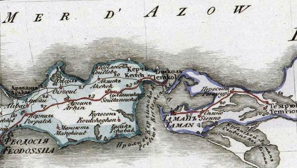 Керчь на карте Таврической губернии 1822 года.