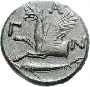 Монета Пантикапея, грифон, осетр