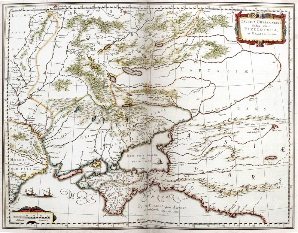Карта Крыма - Герард Меркатор, Таврика Херсонесская или Хазария, 1641, Амстердам