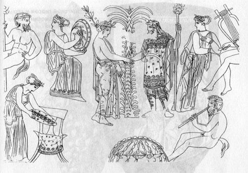 Встреча Аполлона и Диониса в Дельфийском храме. Прорисовка картины краснофигурного кратера из Пантикапея. Конец V в. до н. э.