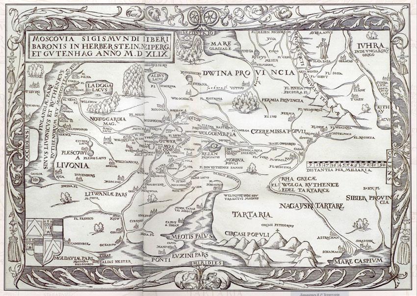 Карта Крыма - Сигизмунд Герберштейн, Карта Московии, Базель, 1549, 1551