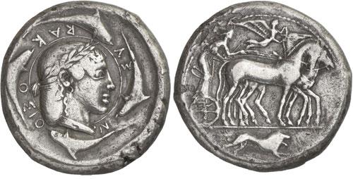 Серебряная декадрахма, Сиракузы, 465 год до н.э.