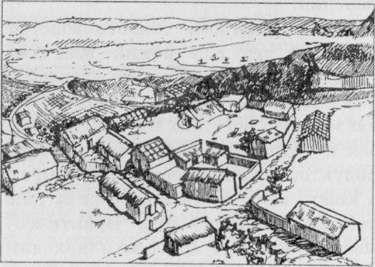 Реконструкция квартала ремесленников конца VI - начала V в. до н. э. Рисунок М.В.Львовой по М.Ю.Трейстеру