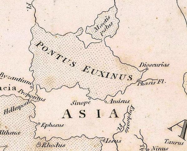 Фрагмент карты Страбона, Крым, Черное море