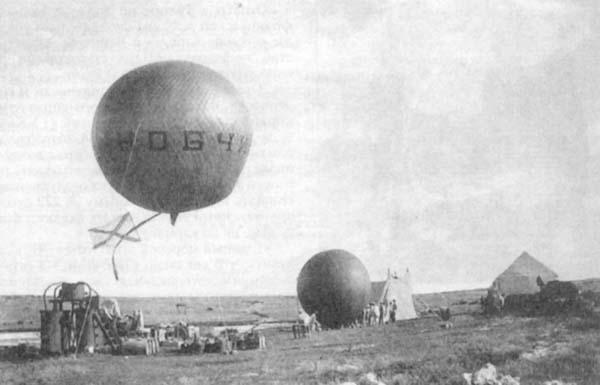 Лейтенант М.Н. Большев и мичман Н.А. Гудим совершили полет на шаре «Кобчик»
