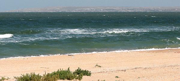 Пляж в поселке Песочное, Крым, Азовское море